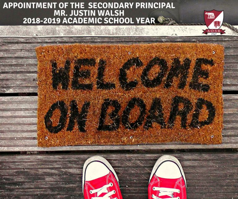 Appointment of Secondary Principal: Mr. Justin Walsh