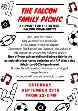 Join us for the Falcon Family Picnic on Saturday, September 29th!