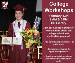 Upcoming College Workshops: February 13th at 9 AM and 5 PM