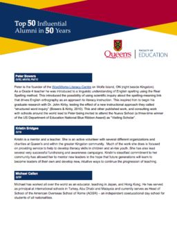 Head of School Named One Of The Top 50 Influential Alumni from the Faculty of Education at Queen's University in 50 years!